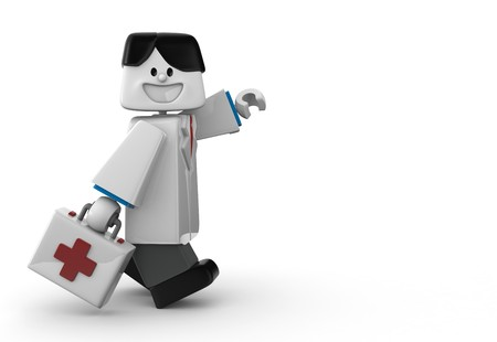3D doctor with First aid kit