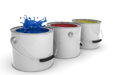 3D image of three paint cans isolated on white Stock Photo