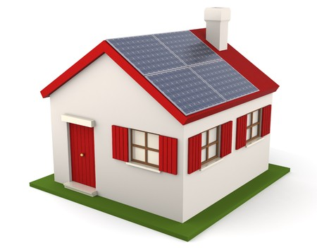 3D image of residential structure with solar panel