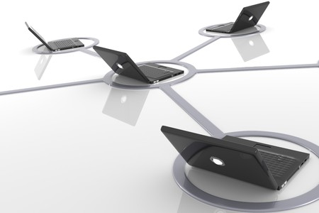 intranet: 3D image of black laptop network