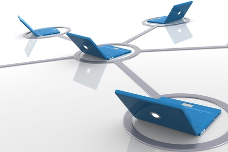 3D image of laptop network Stock Photo - 7607956