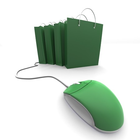 3d mouse: 3D image of four shopping bag with computer mouse Stock Photo