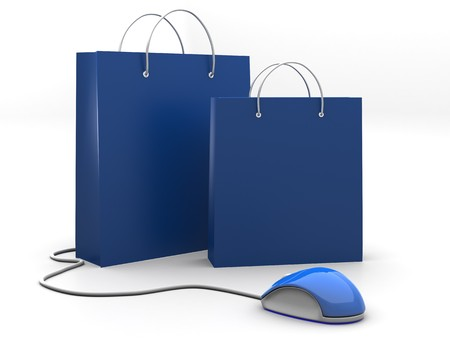 online shopping: 3D image of two shopping bag with computer mouse Stock Photo