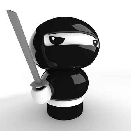 3D Japanese ninja with katana ready to attack photo