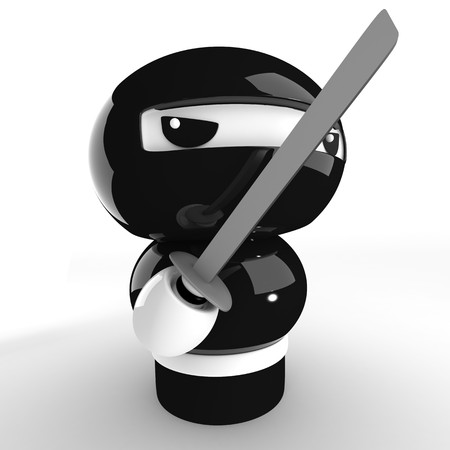 3D Japanese ninja with katana ready to attack Stock Photo