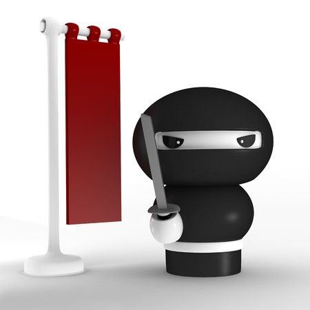 japanese ninja: 3D Japanese ninja with katana ready to attack Stock Photo
