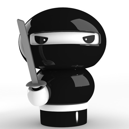 cartoon warrior: 3D giapponese ninja con katana pronto ad attaccare