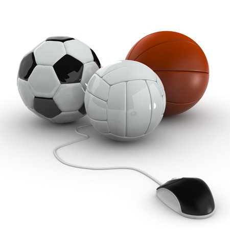 Balls for team sports with computer mouse - Soccer, Volley, basket photo