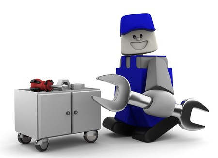3D Mechanic with tools on white bacground Stock Photo - 7847182
