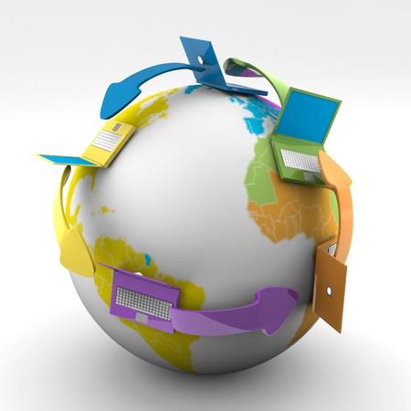 通信: 世界の着色された接続するノート パソコンの 3 d イメージ 写真素材