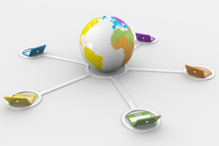 3D image of laptop network connected to the earth Stock Photo