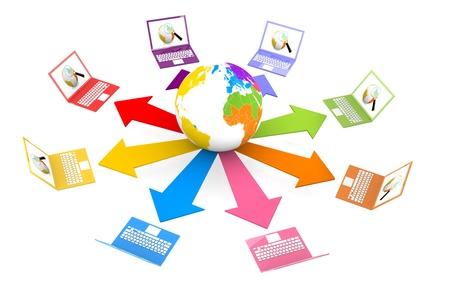 worldwide web: Ordenador port�til conectado a la World Wide Web Foto de archivo