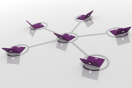 3D image of laptop network photo