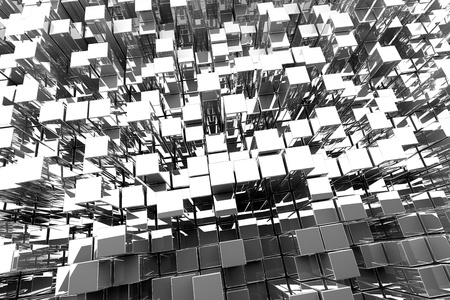 fundamental: 3D Silver Blocks Abstract Background