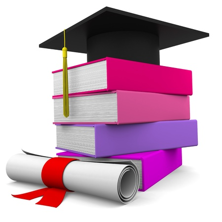 masters: Graduation cup with colorful books and diploma