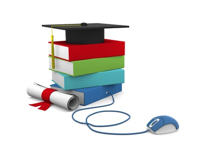 tanulás: On line Univesity concept. Distance Learning Courses and Degree.