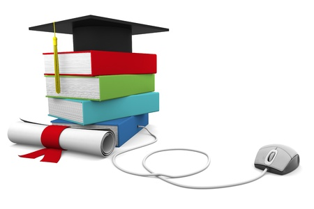 On line Univesity concept. Distance Learning Courses and Degree. photo