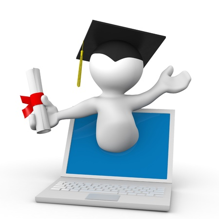 E-learning Concept. Student With Graduation Cap And Diploma