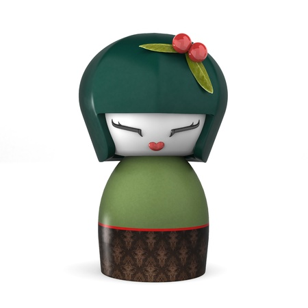 3D Japanese Kokeshi Doll Isolated On White - Female Characters photo