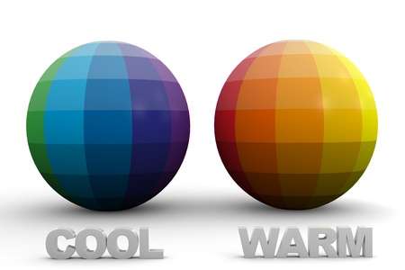 didactic: Didactic Color Scheme: Cool & Warm Colors in 3D Sphere Stock Photo