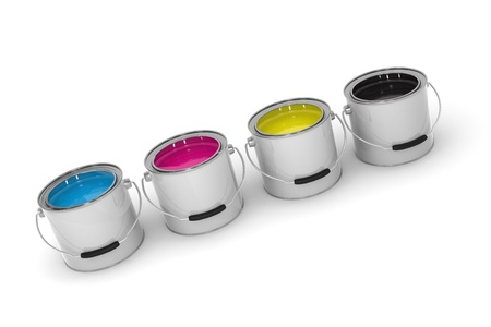 Paint Cans With CMYK Colors on White Background photo