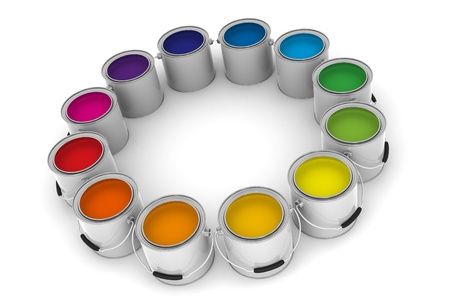 A Group of Colorful Paint Cans on White Background Stock Photo
