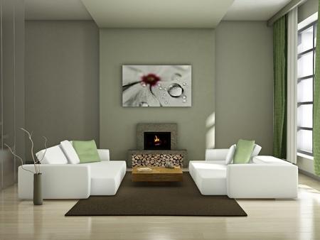 Modern inter (3D render) - Living room Stock Photo - 8920157