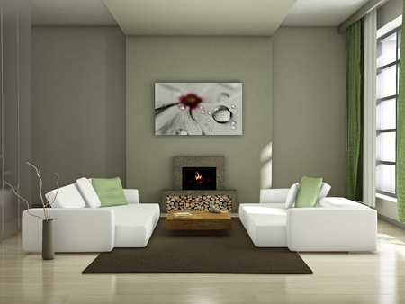 living room minimalist: Modern interior (3D render) - Living room Stock Photo