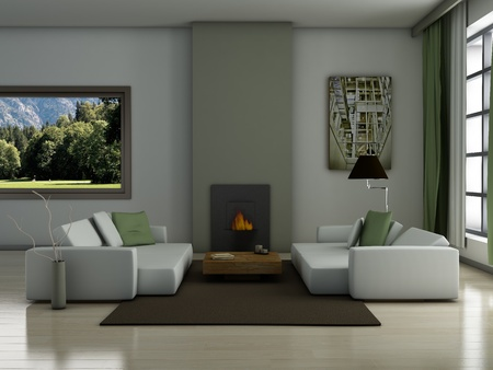 designer chair: Modern interior (3D render) - Living room Stock Photo