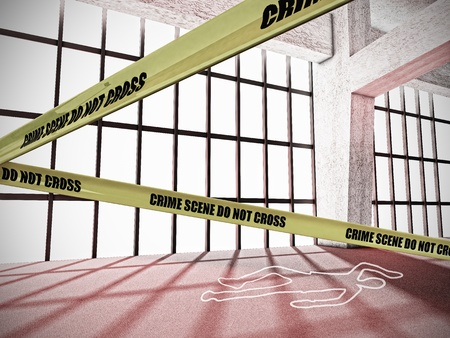 Crime Scene With Do Not Cross Yellow Warning Tape and Body Outline photo