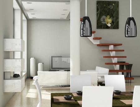 Modern inter (3D render) - Living room Stock Photo - 9117724