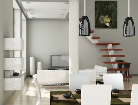 Modern interior (3D render) - Living room Stock Photo - 9117724