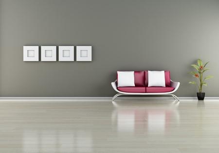 modern interior (3D render) -  Elegance Furniture Stock Photo