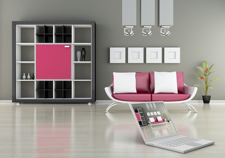 modern interior (3D render) -  Sofa With Bookshelf photo