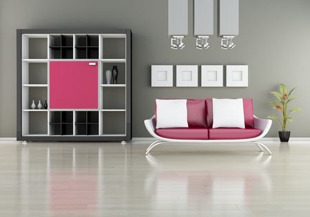 modern interior (3D render) -  Sofa With Bookshelf Stock Photo - 9239823