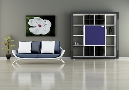 modern interior (3D render) -  Sofa With Bookshelf Stock Photo - 9351297