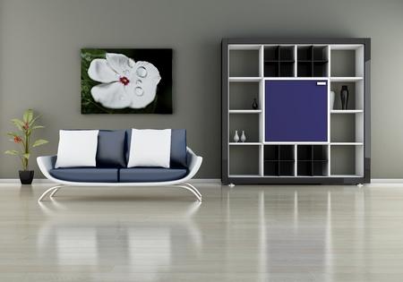 modern interior (3D render) -  Sofa With Bookshelf