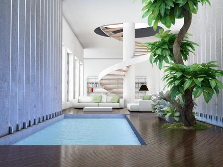 modern interior (3D render) -  Living Room with Internal Garden