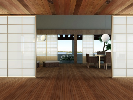 modern interior (3D render) -  Living Room In Japanese style Stock Photo