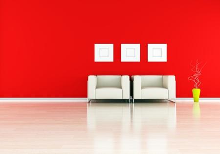 modern interior (3D render) -  Elegance in red photo