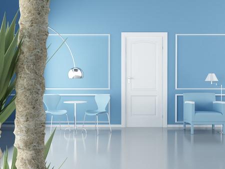 Modernes Interieur (3D Render) - Wohnzimmer Standard-Bild - 10014781
