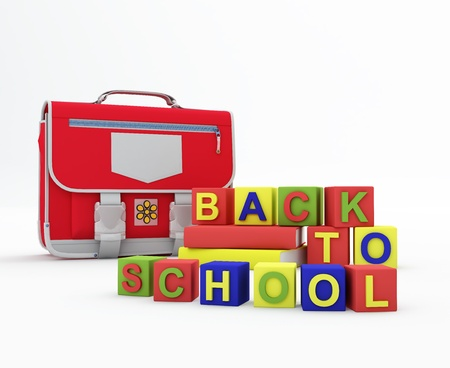 knapsack: Back to school concept. Composition with knapsack and books on white background.