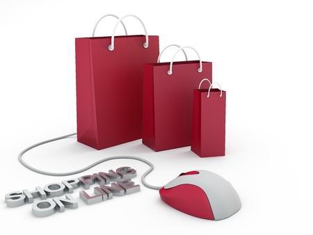 隔離されたショッピング バッグやコンピューターのマウス、e コマースの概念