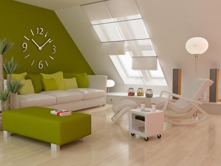 Modern inter (3D Render) - Living Room Stock Photo - 10348337