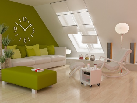 luxury condo: Modern interior (3D Render) - Living Room