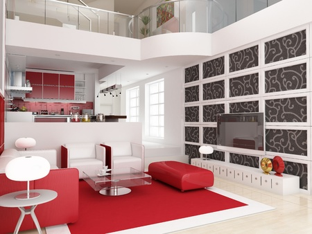 modern living room: Modern interior (3D Render) - Living Room