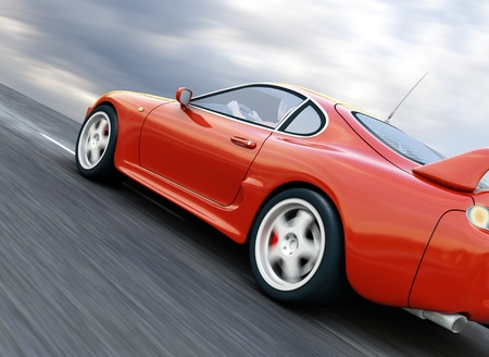 El exceso de velocidad un coche rojo deportivo en la carretera de asfalto borrosa. Render 3D Foto de archivo