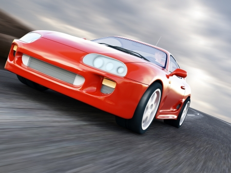 A Red Sports Car Speeding on Blurry Asphalt Road. 3D Render