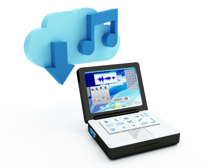 downloading content: Music Download Cloud Computing concept - 3D render Stock Photo
