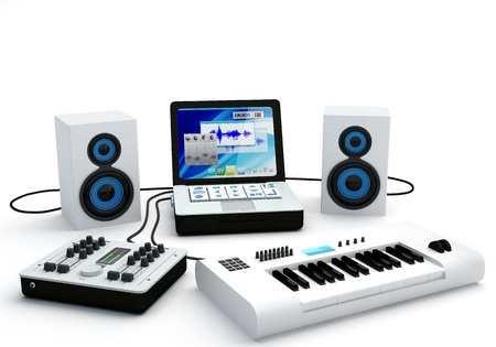 recording studio: Group of recording and composing electro-music instruments - 3D Render